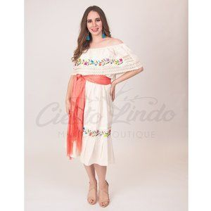 Mexican Off the Shoulder Embroidered Dress Cream
